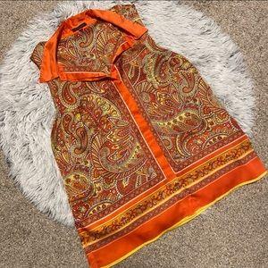 Vince Camuto Silky Orange Paisley Collar Tank